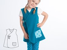 MARIE Baby dress pattern for girls. Easy sewing lined tunic wrap dress. Ebook pdf reversible dress with or without sleeves by Patternforkids