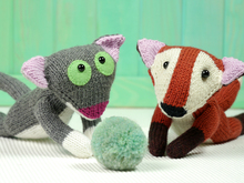 Knitting pattern - Alois the Fox and Jacques the Kitten