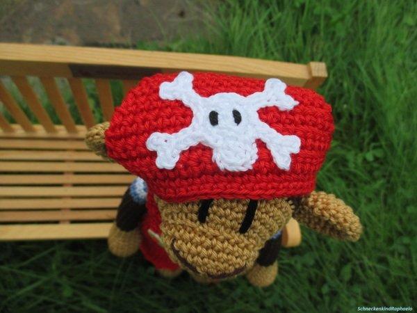Affe häkeln///stehend + rote Latzhose + Mütze