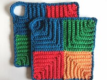 "Free crochet pattern: ""Retro Potholder Variation"", oven cloth"