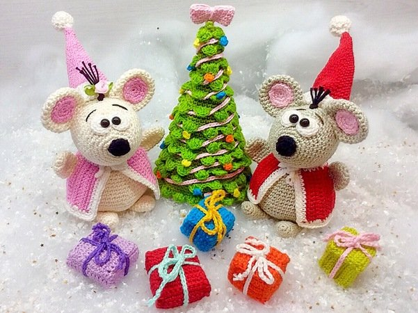 Maus Häkeln Weihnachtsmaus Pärchen Diy