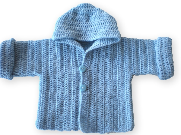 You are a beginner and want to crochet a baby jacket? Hooded? Then ...