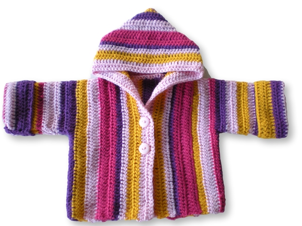 Crochet Stitch Jacket : You are a beginner and want to crochet a baby jacket? Hooded? Then ...