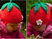 Strawberry Earflap Hat Knitting Pattern