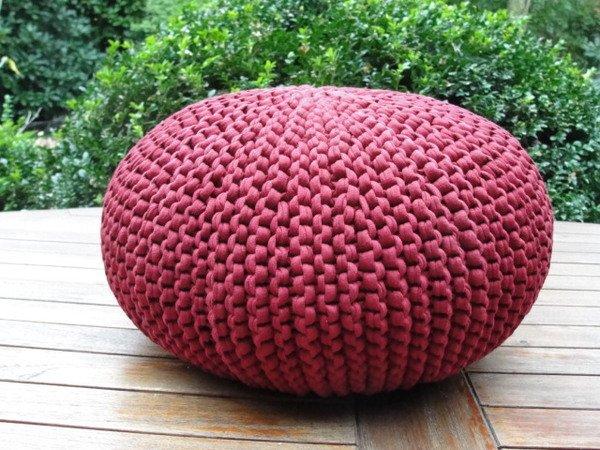 pdf strickanleitung f r einem runden pouf aus textilgarn. Black Bedroom Furniture Sets. Home Design Ideas