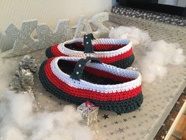 Hausschuhe häkeln // weihnachtliche Puschen
