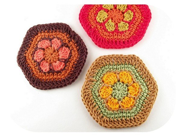Häkelanleitung Granny Hexagon Blumenwabe