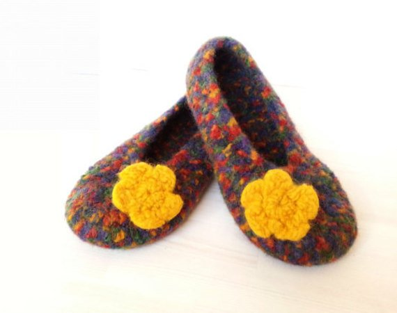 "Pattern Crocheted felted slippers ""Paula"""