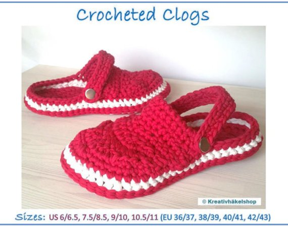 "Pattern ""Crocheted Clogs"", Sizes 6/6.5, 7.5/8.5, 9/10, 10.5/11"