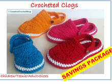BUNDLE: Crocheted Clogs, Sizes Sizes Child 6 – Women 10.5/11