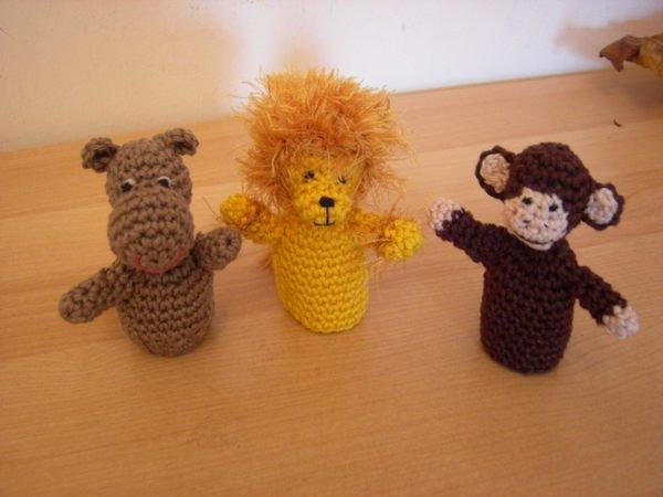 Fingerpuppen - Löwe, Nilpferd, Affe Häkelanleitung