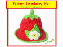 Crocheted Strawberry Hat (newborn - 12 years)