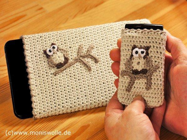 Für Ihn Häkel Handy Smartphone Tablet Tasche Mit Eule Athene