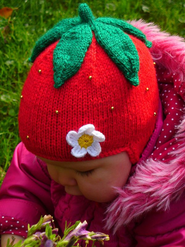 Knitting Pattern For Strawberry Hat : Strawberry Earflap Hat Knitting Pattern