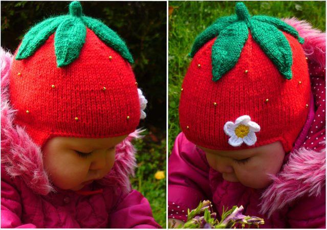 Strawberry Earflap Hat Knitting Pattern