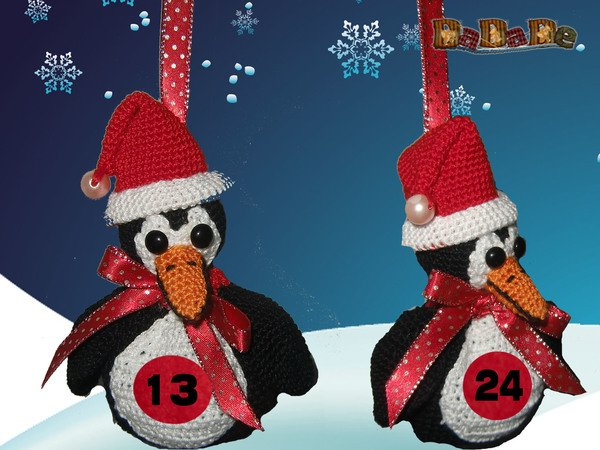 pinguin als adventskalender h keln m tze. Black Bedroom Furniture Sets. Home Design Ideas
