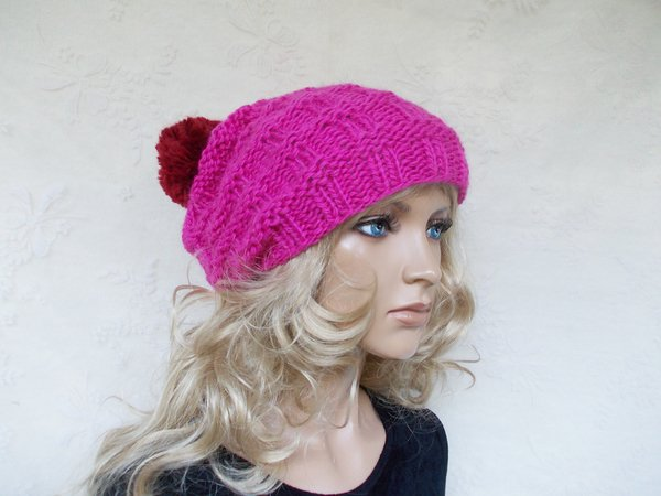 Knit Pattern For A Caphat Cute Women Hat Slouchy Bobble Beanie