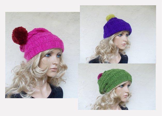 knit pattern for a cap/hat, cute women hat, slouchy ...