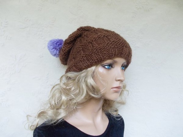 knit pattern for a cap/hat, cute women hat, slouchy, bobble-beanie