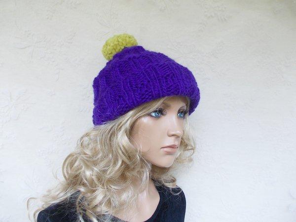 knit pattern for a cap/hat, cute women hat, slouchy, bobble-beanie