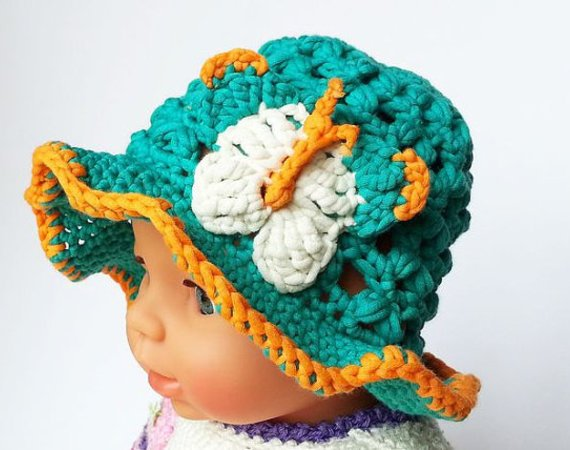 Foldable, airy sunhat, sizes newborn - adult, crochet pattern