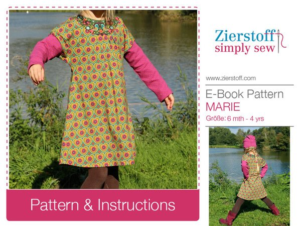 MARIEs dress pattern, sizes 62-104 / 6 mo.- 4/5 yrs.