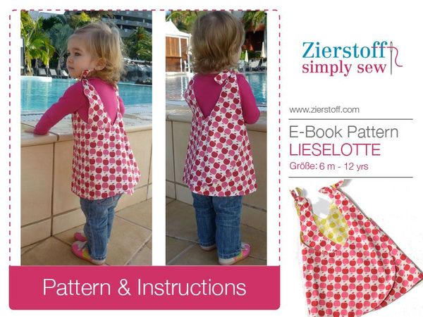 LIESELOTTEs dress pattern, sizes 62-104 / 6 mo.- 4/5 yrs.