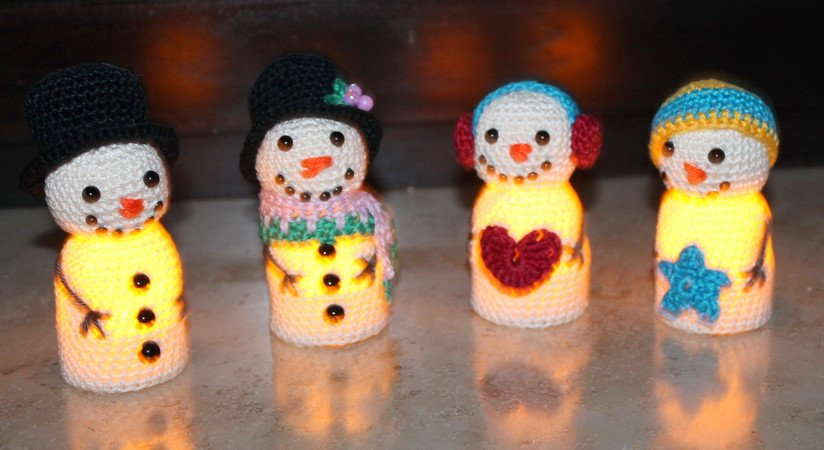 Glowing snowmen 4 different ways