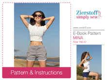 MINAs shorts / hot pants pattern, sizes 158 – 42 (Kids M – women´s M/L)