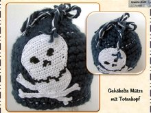 Hat (Beanie) with skull - Unisex - children, adults, Crochet Pattern