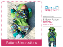 FREDDYs romper suit / Babygro pattern, sizes 50-80 / 0 mo.- 12/+12 mo.