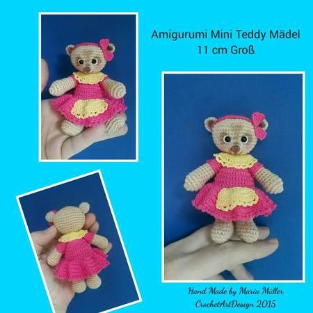 Amigurumi Mini Teddy Mädel 11 Cm Groß