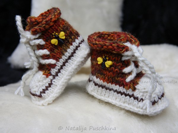 Wonderful first Baby shoes (sock)  - Step by Step knitting pattern