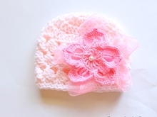 Crochet Puff Hat With Flower Newborn- Child