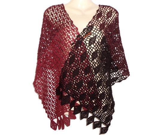 Crochet pattern: Copper Beech Leaves, Scarf, rectangular shawl, wrap