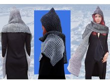 "Knitting pattern ""Two-Color-Play Pixie Scoodie"", Scarf, Hood"