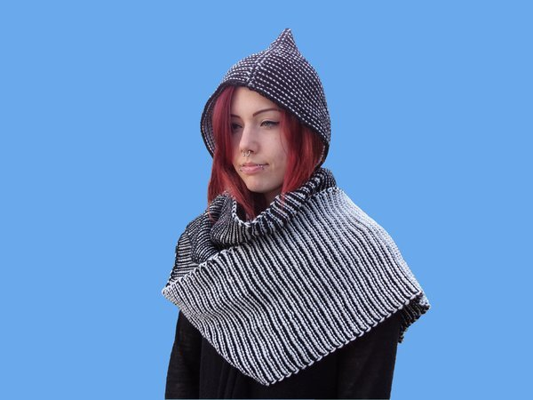 Knitting Pattern Two Color Play Pixie Scoodie Scarf Hood