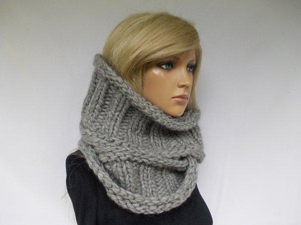 chunky slouchy knit scarf, circle shawl, knit pattern, unisex
