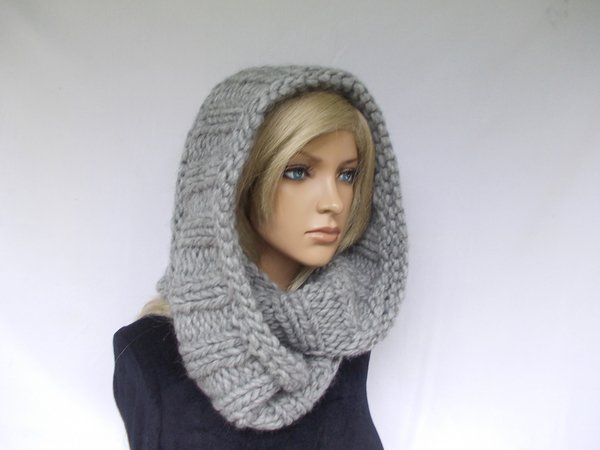 Circle Scarf Knitting Patterns : chunky slouchy knit scarf, circle shawl, knit pattern, unisex