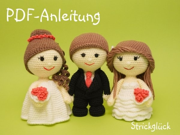 Amigurumi Free Pattern Couple : Crochet pattern wedding couple Set bride groom wave and ...