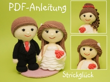 Crochet pattern wedding bride groom couple ruffle dress amigurumi