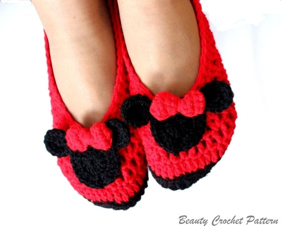 Miss Bow Mouse Women Crochet Shoes Pattern