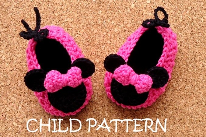"Crochet Shoes Child Pattern ""Miss Bow Mouse"""