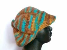 Crochet Felted Newsboy Cap