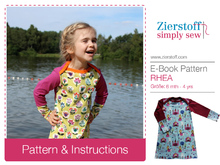 RHEAs dress / shirt pattern, American neckline, sizes 62-104 / 6 mo.- 4/5 yrs.