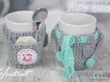 Cute as a button Mug Hug Winterset Häkelanleitung