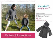 LILIAs jacket (with a flower) pattern , sizes 110-152 / 5-12 yrs.