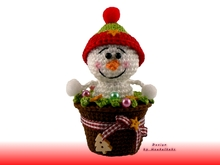 Snowman in a pot -- crochet pattern by Haekelkeks -- english version
