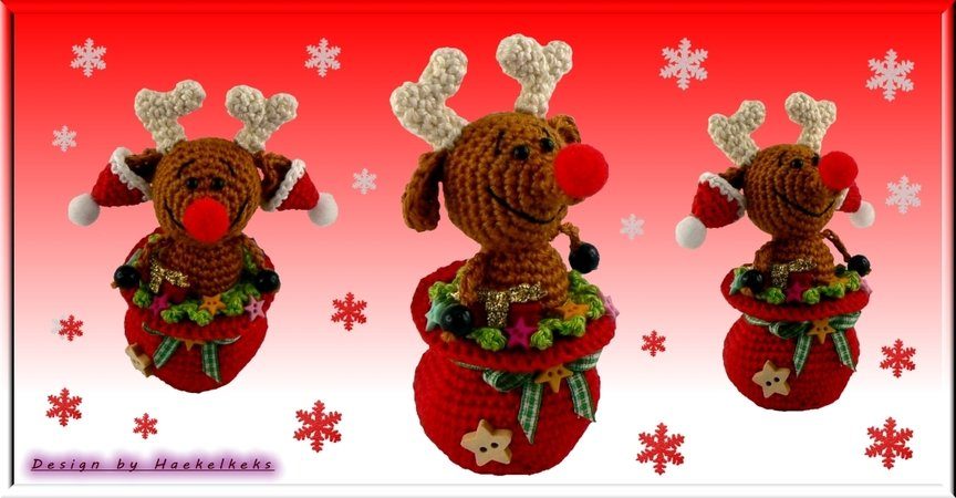 Reindeer in a pot -- crochet pattern by Haekelkeks -- english version