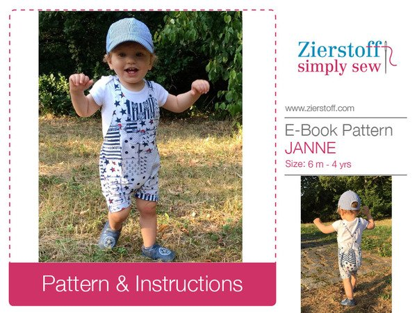 JANNEs trouser suit / overall pattern, sizes 62-104 / 6 mo. – 4/5 yrs.
